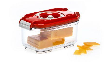 Pravokotna vakuumska posoda volumna 0,5 litra z rdečim pokrovom.