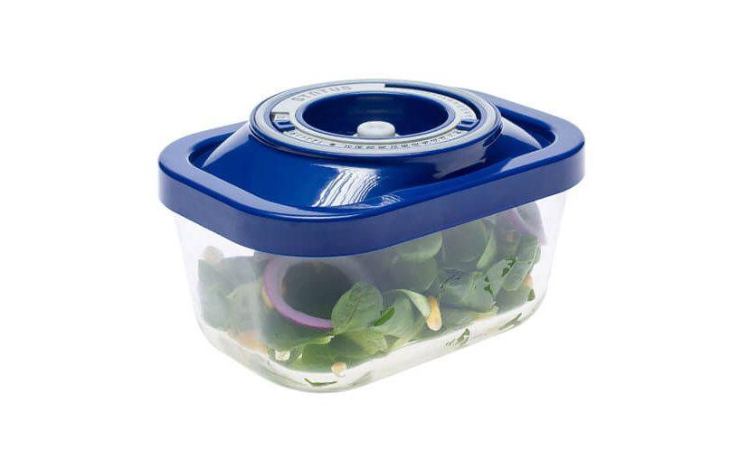 0,5-litrska steklena vakuumska posoda z modrim pokrovom, v kateri je shranjena zelena solata s čebulo.
