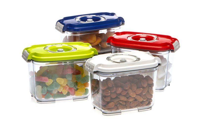 Pravokotne vakuumske posode volumna 0,8 litra v vseh barvnih različicah.