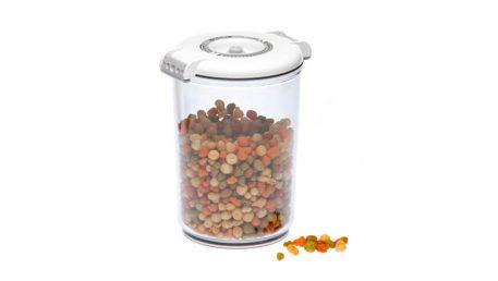 Okrogla vakuumska posoda Status volumna 1,5 litra z belim pokrovom.