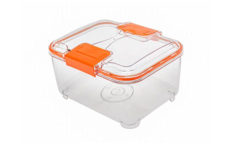 2-litrska posoda za shranjevanje Status z oranžnimi ročkami.