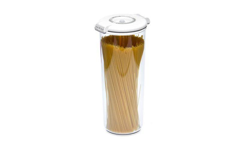 2,5-litrska okrogla vakuumska posoda z belim pokrovom.