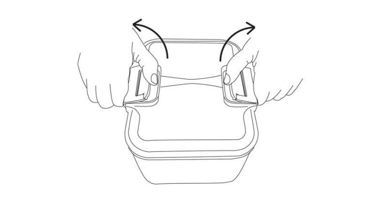 Prikaz odpiranja posod za shranjevanje