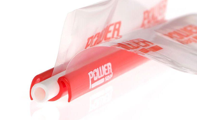 Prikaz vrečke, zaprte z zapiralom Power Seal od blizu.