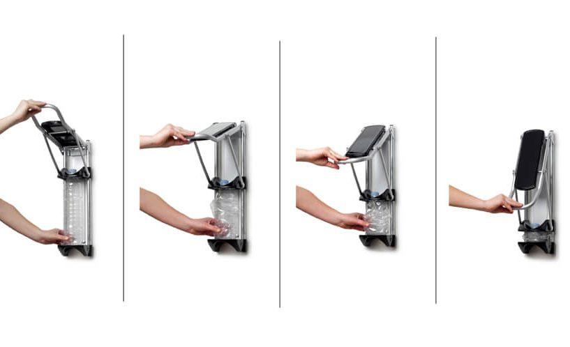 Prikaz stiskanja embalaže s stiskalnico Green Press v štirih fazah.