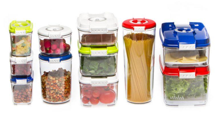 Vakuumsko shranjena živila v različnih vakuumskih posodah Status.